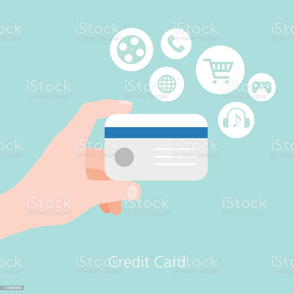 Credit card and hand concept flat vector illustration vector art illustration