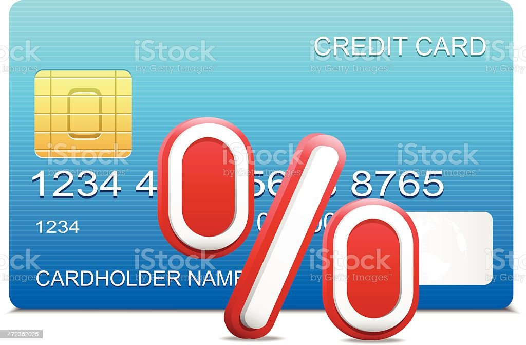 Credit card and percentage vector art illustration