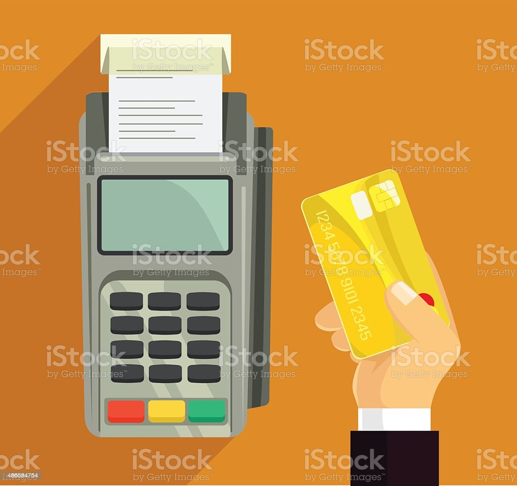 Credit card and pos terminal. Vector flat illustration vector art illustration