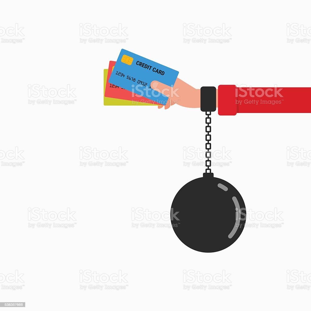 Credit card chained to handcuff in hand.Debt concept. vector art illustration