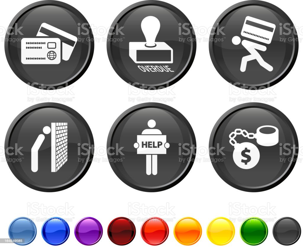 credit card debt royalty free vector icon set vector art illustration