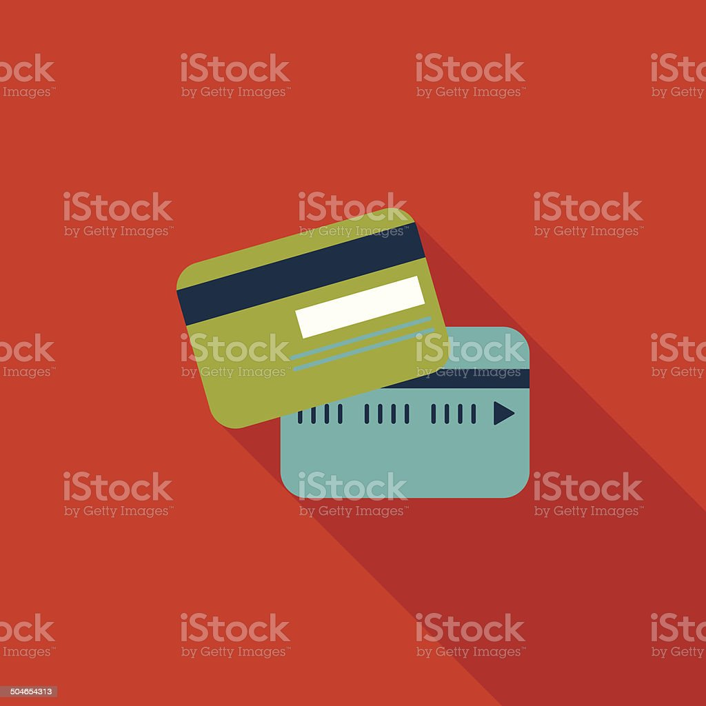 credit card flat icon with long shadow vector art illustration