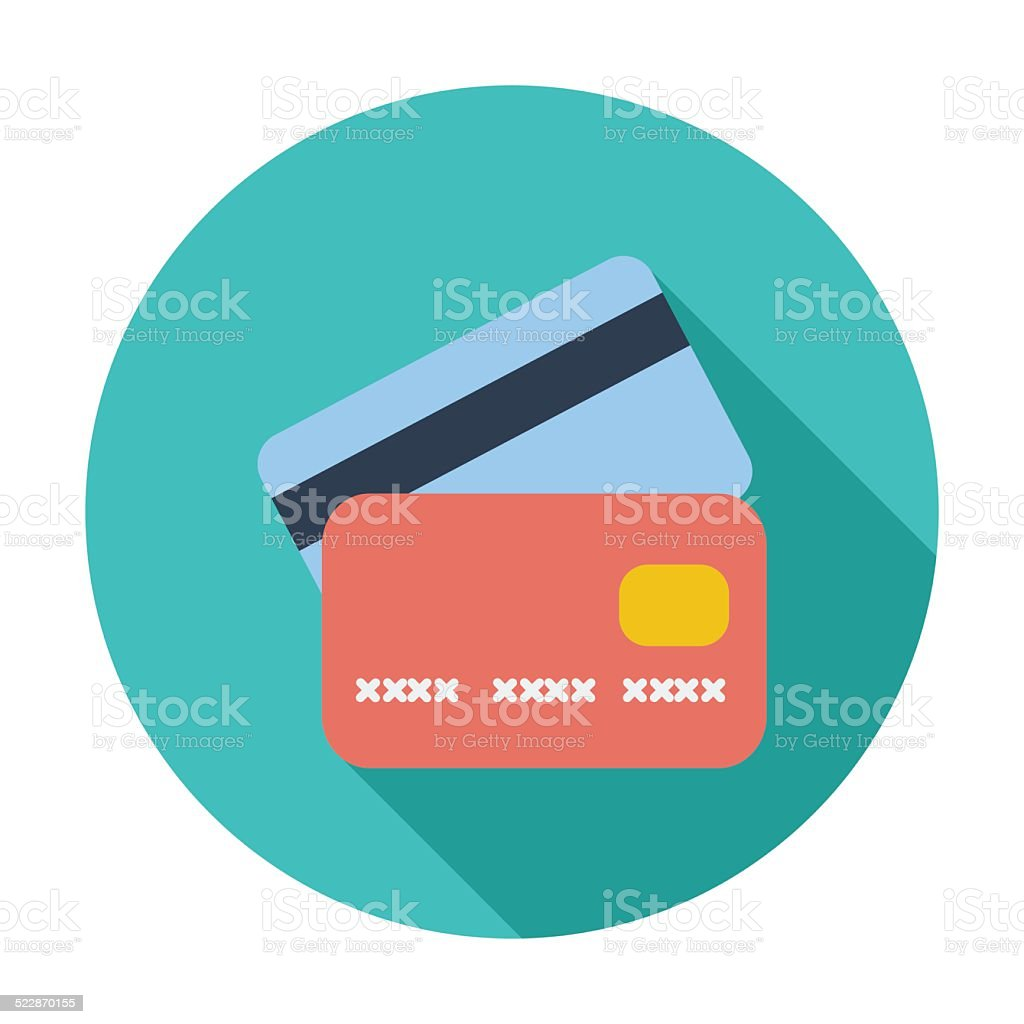Credit card flat single icon. vector art illustration