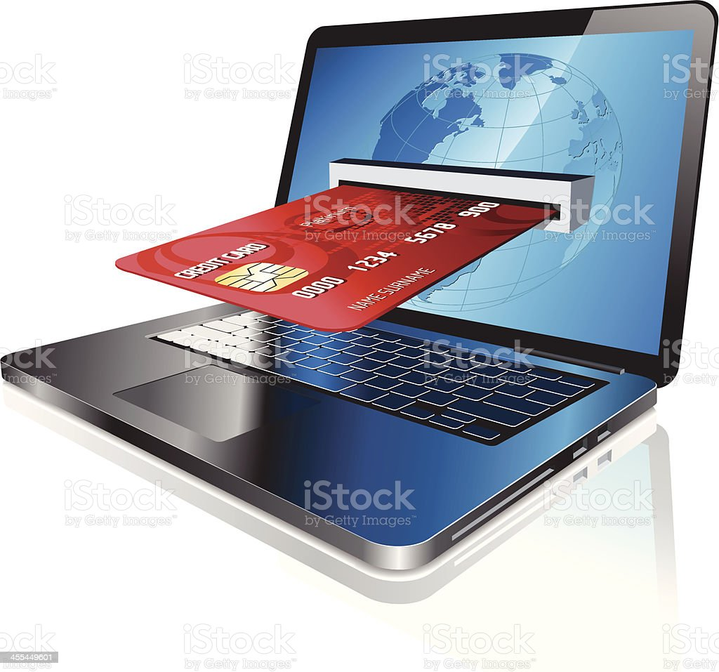 A credit card going into a laptop screen vector art illustration
