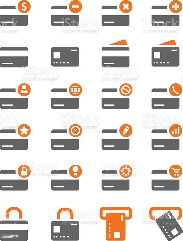 Credit card icon set vector art illustration
