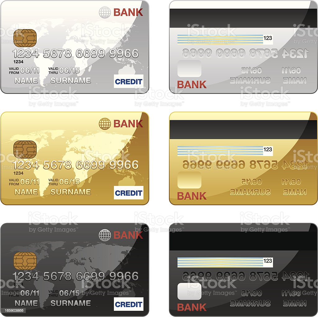 Credit Card icons royalty-free stock vector art