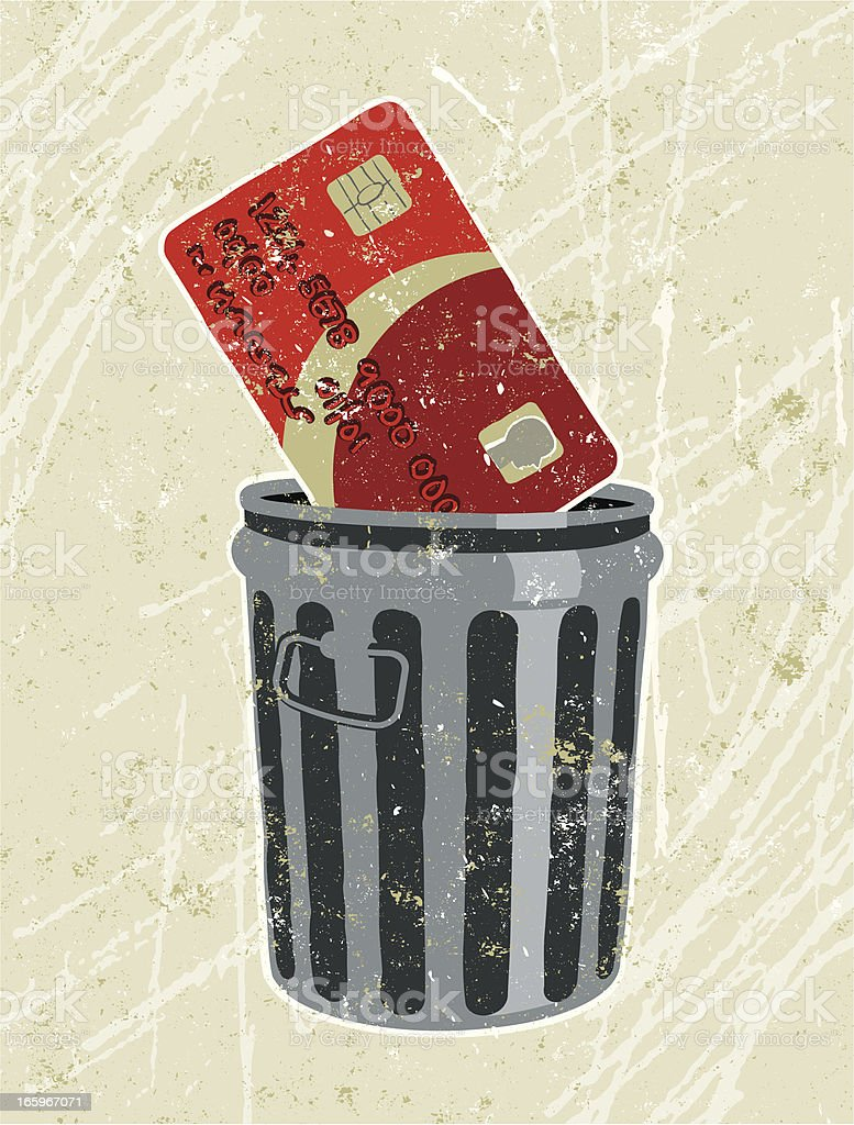 Credit card in a Rubbish Bin royalty-free stock vector art