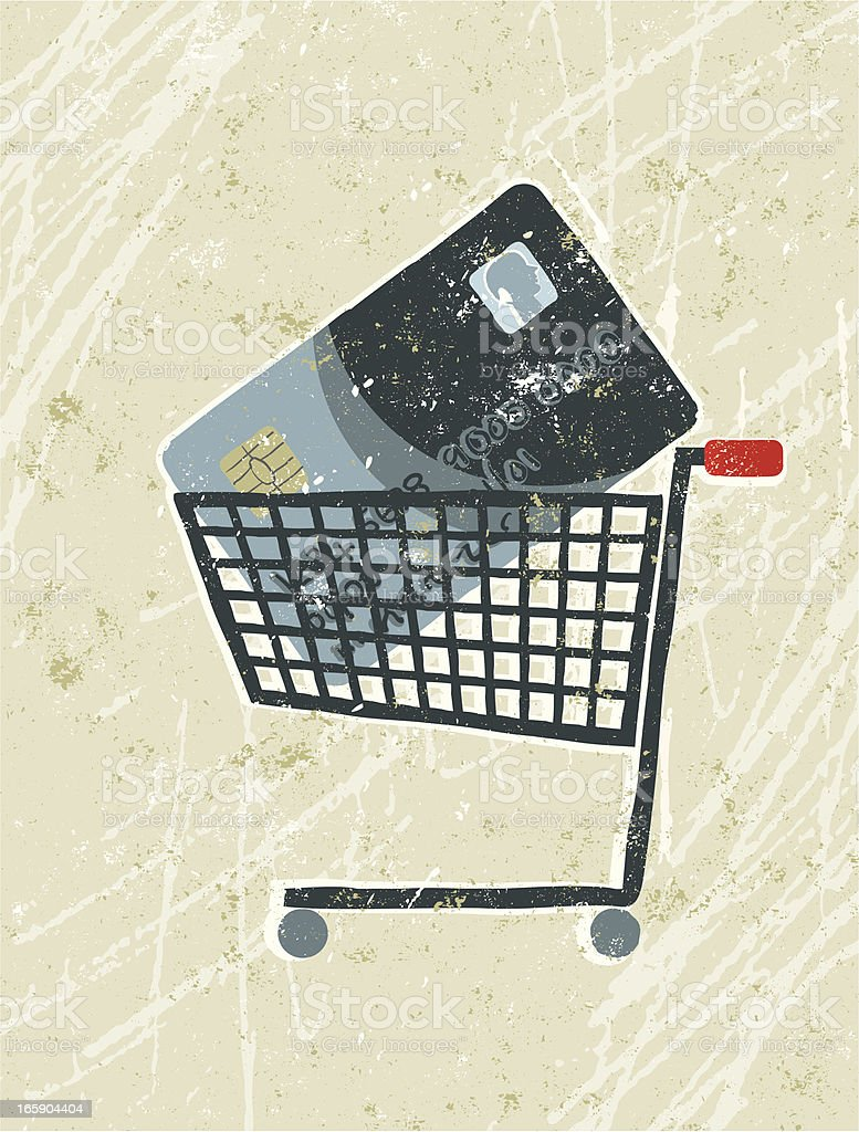 Credit Card in a Shopping Trolley royalty-free stock vector art