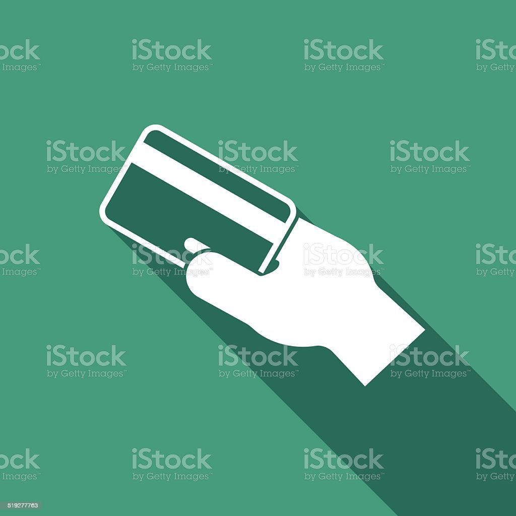 credit card in hand icon vector art illustration