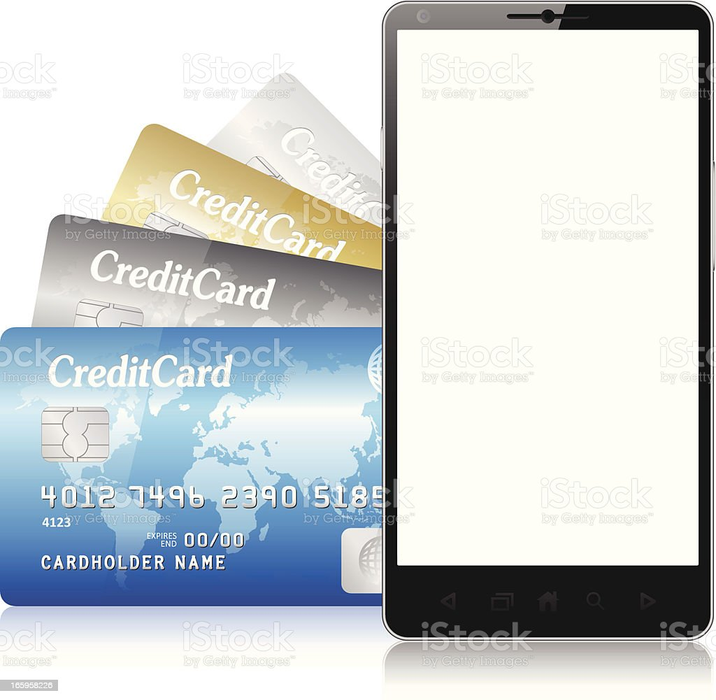 credit card mobile phone for e-commerce royalty-free stock vector art