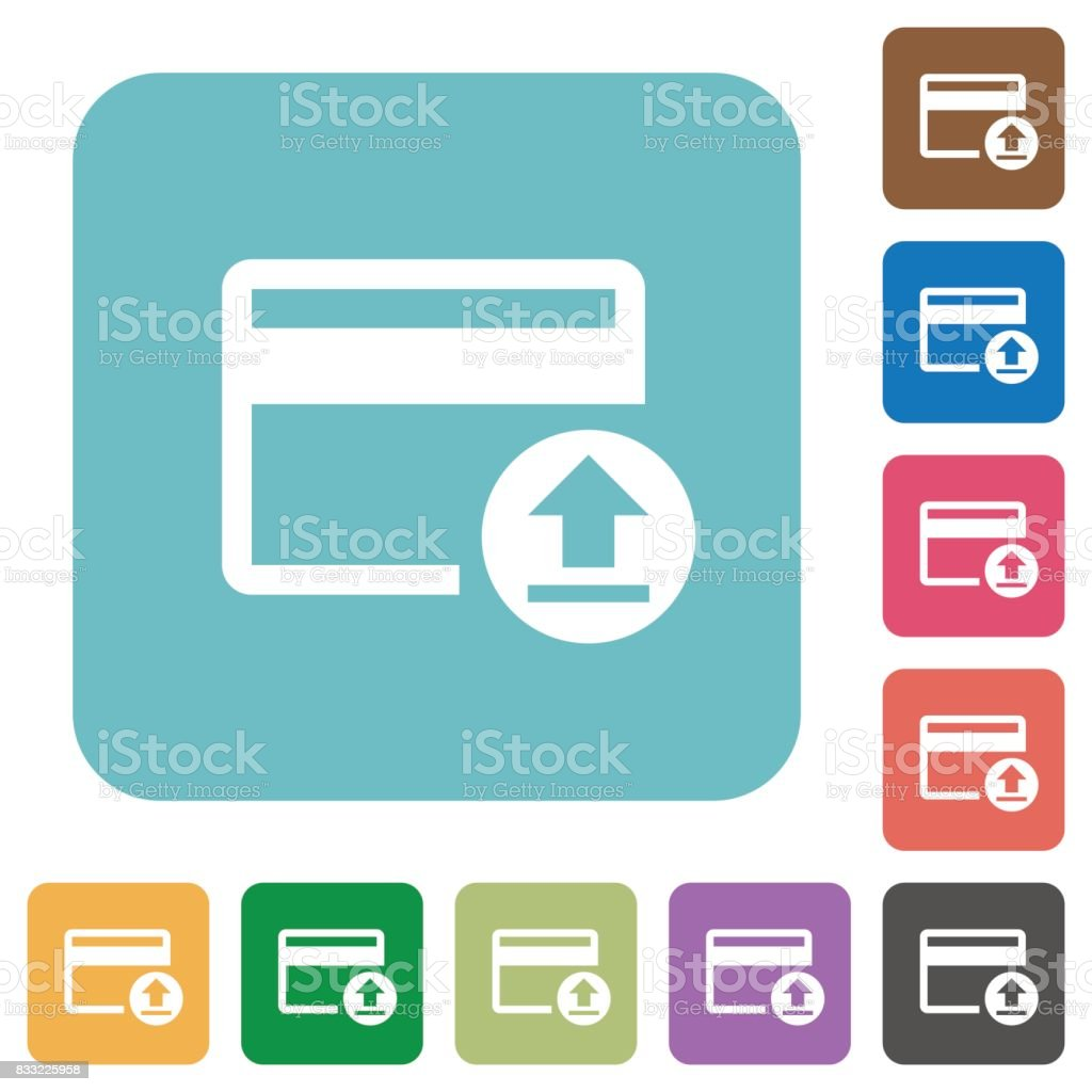 Credit card money deposit rounded square flat icons vector art illustration