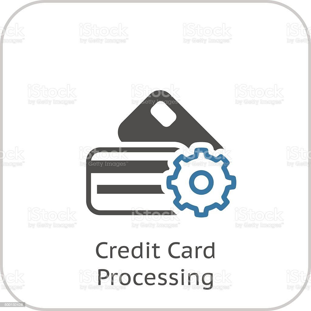 Credit Card Processing Icon. Flat Design. vector art illustration