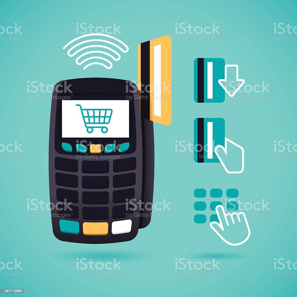Credit Card Reader and Shopping vector art illustration