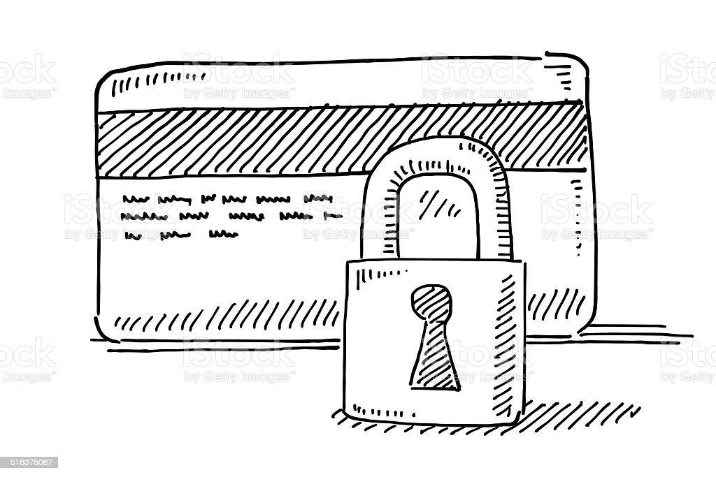 Credit Card Security Padlock Drawing vector art illustration