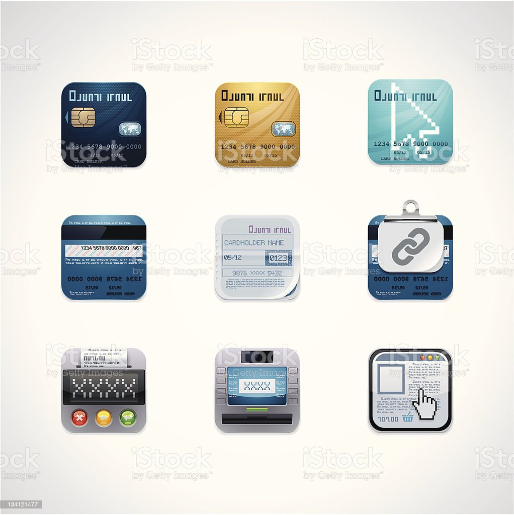 Credit card square icon set royalty-free stock vector art