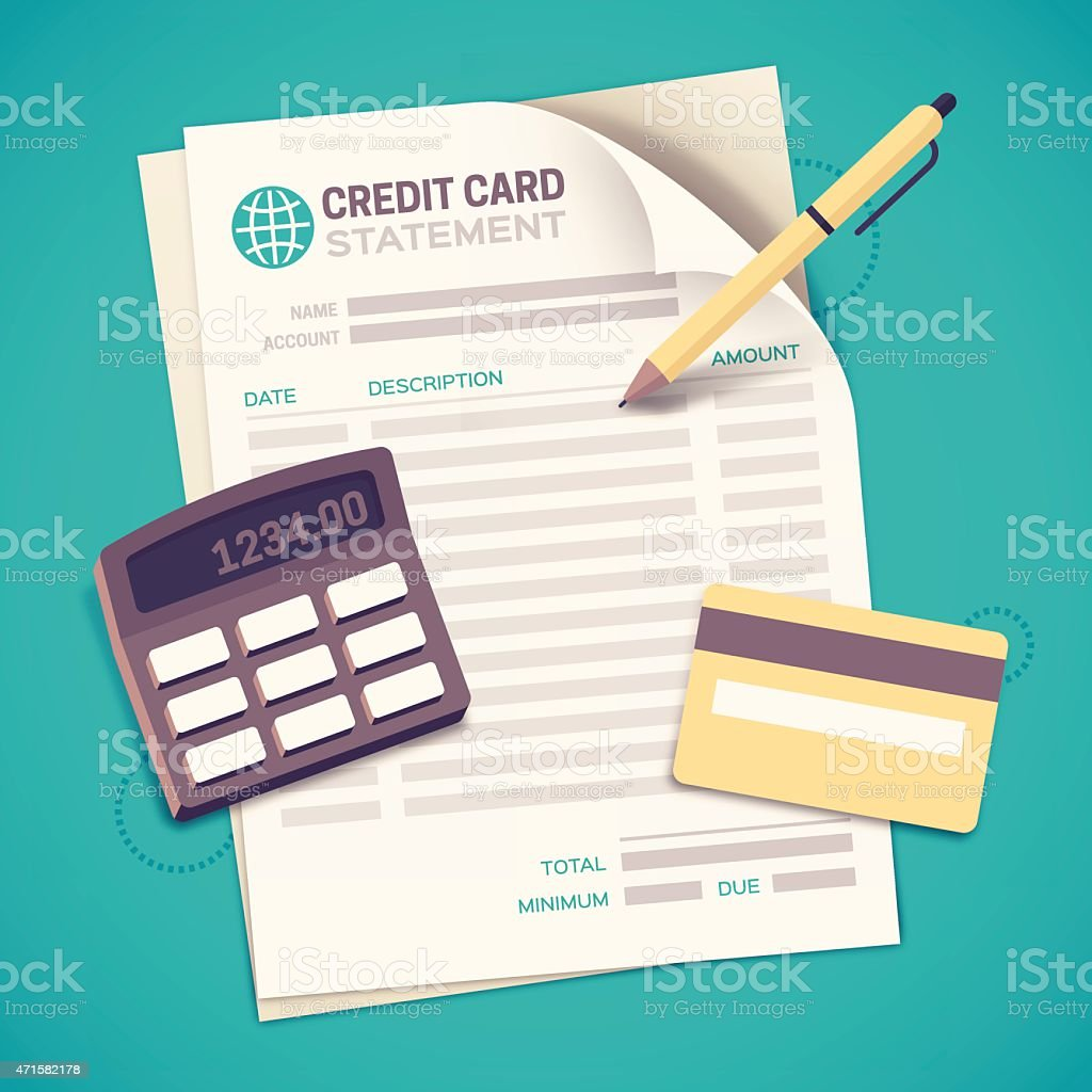 Credit Card Statement Bill Paying vector art illustration