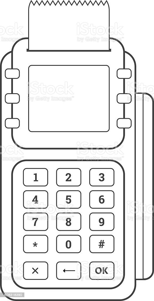 POS Credit Card Terminal Line Icon On White Background. vector art illustration