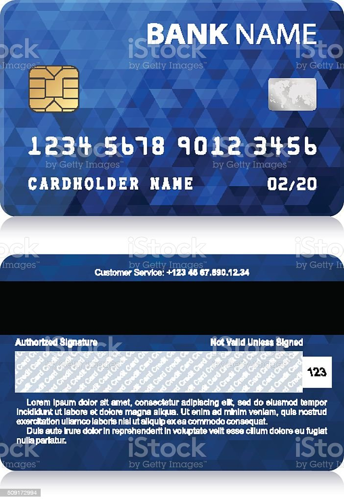 Credit Card with Abstract Polygon Pattern vector art illustration