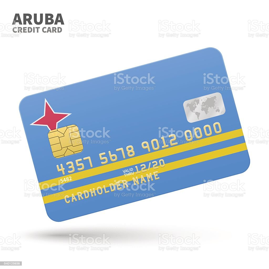Credit card with Aruba flag background for bank, presentations and vector art illustration