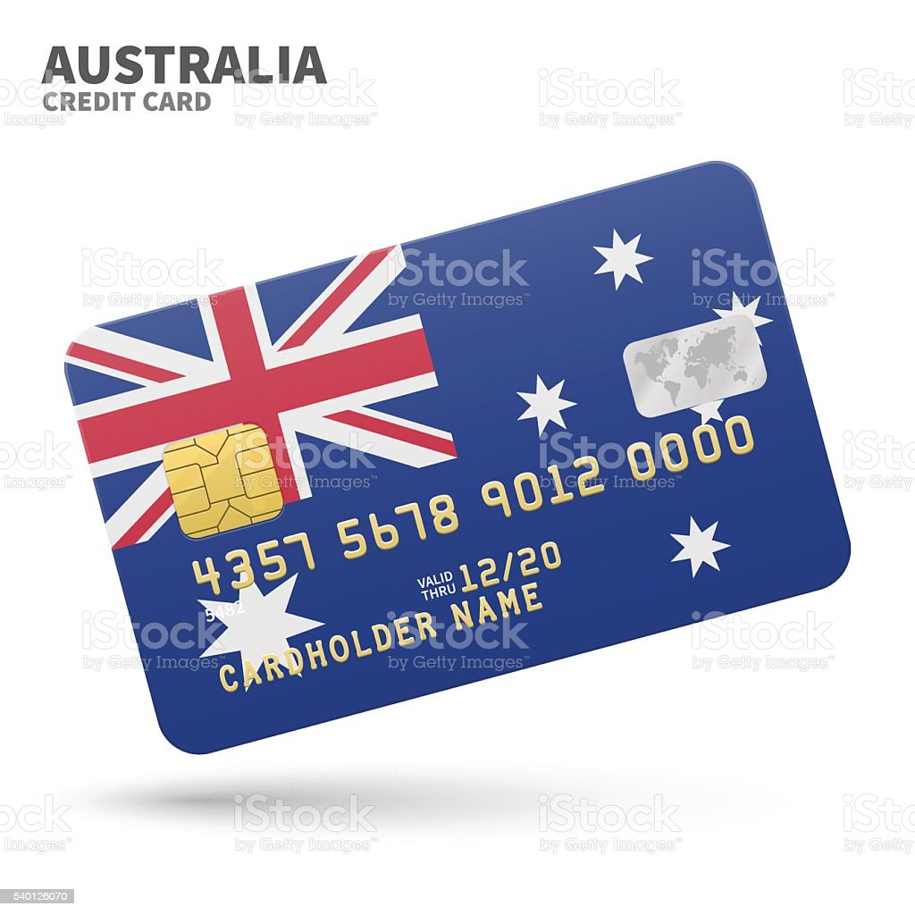 Credit card with Australia flag background for bank, presentations and vector art illustration