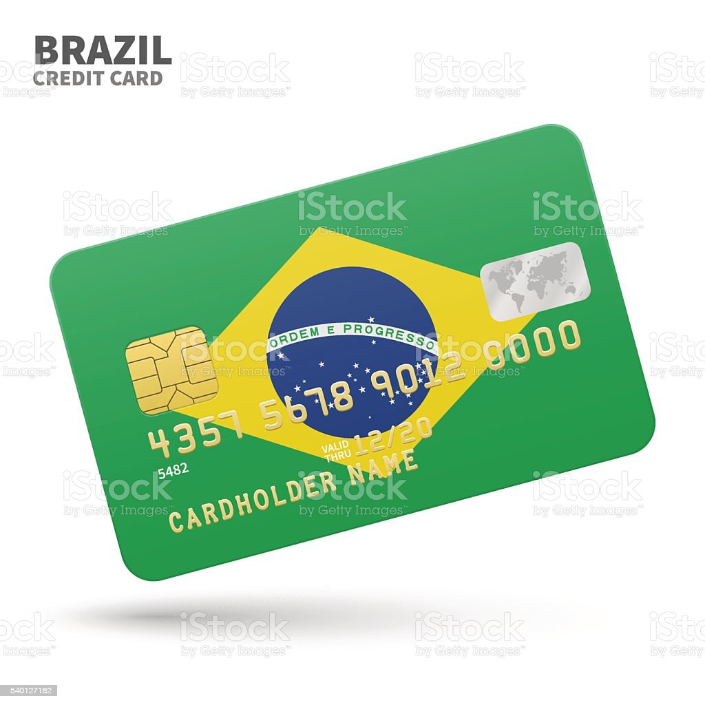 Credit card with Brazil flag background for bank, presentations and vector art illustration