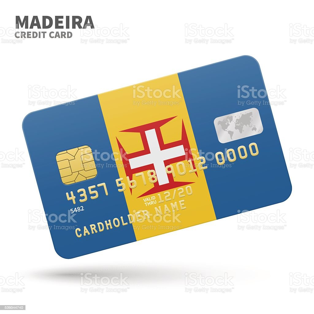 Credit card with Madeira flag background for bank, presentations and vector art illustration