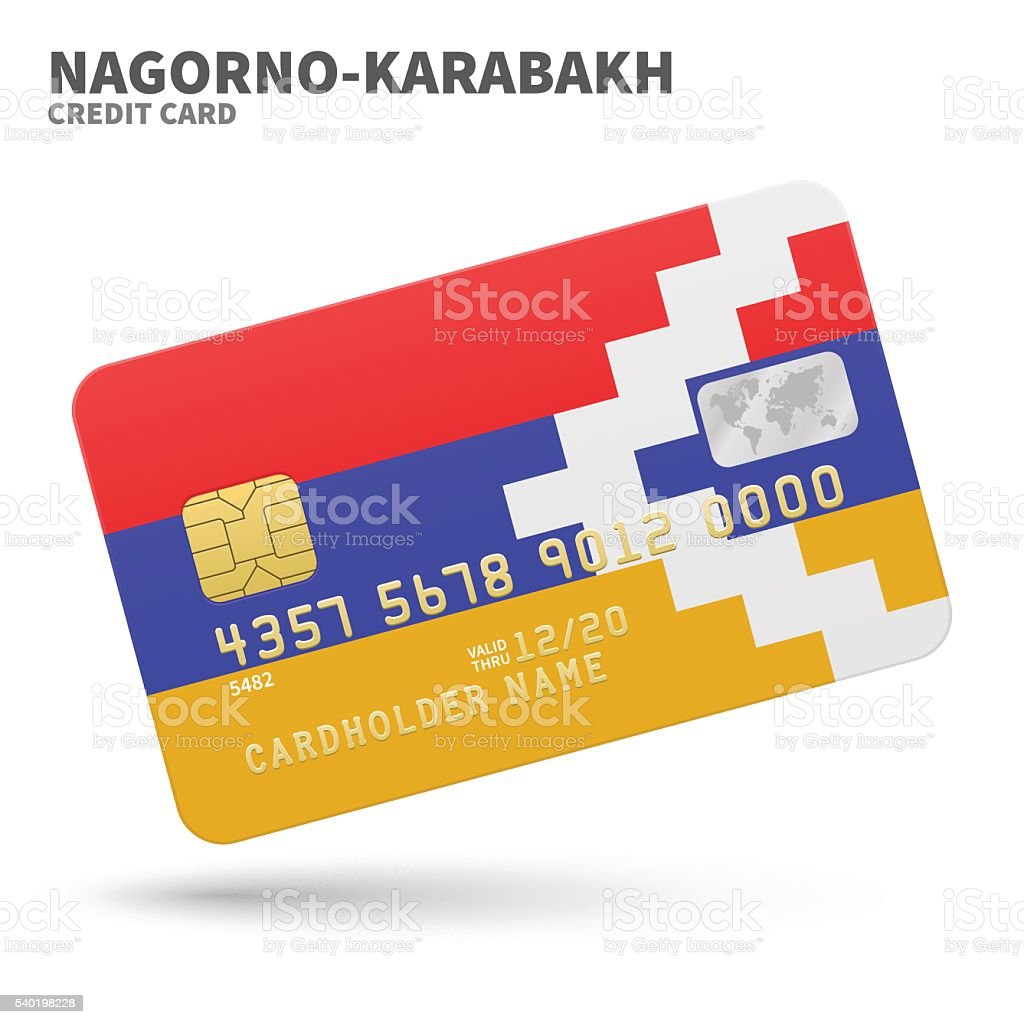Credit card with Nagorno-Karabakh flag background for bank, presentations vector art illustration