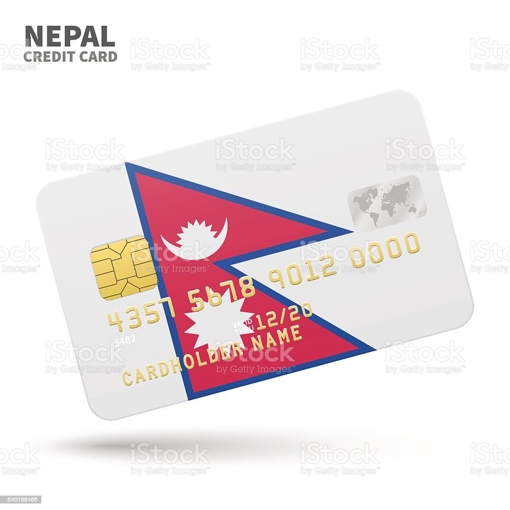 Credit card with Nepal flag background for bank, presentations and vector art illustration