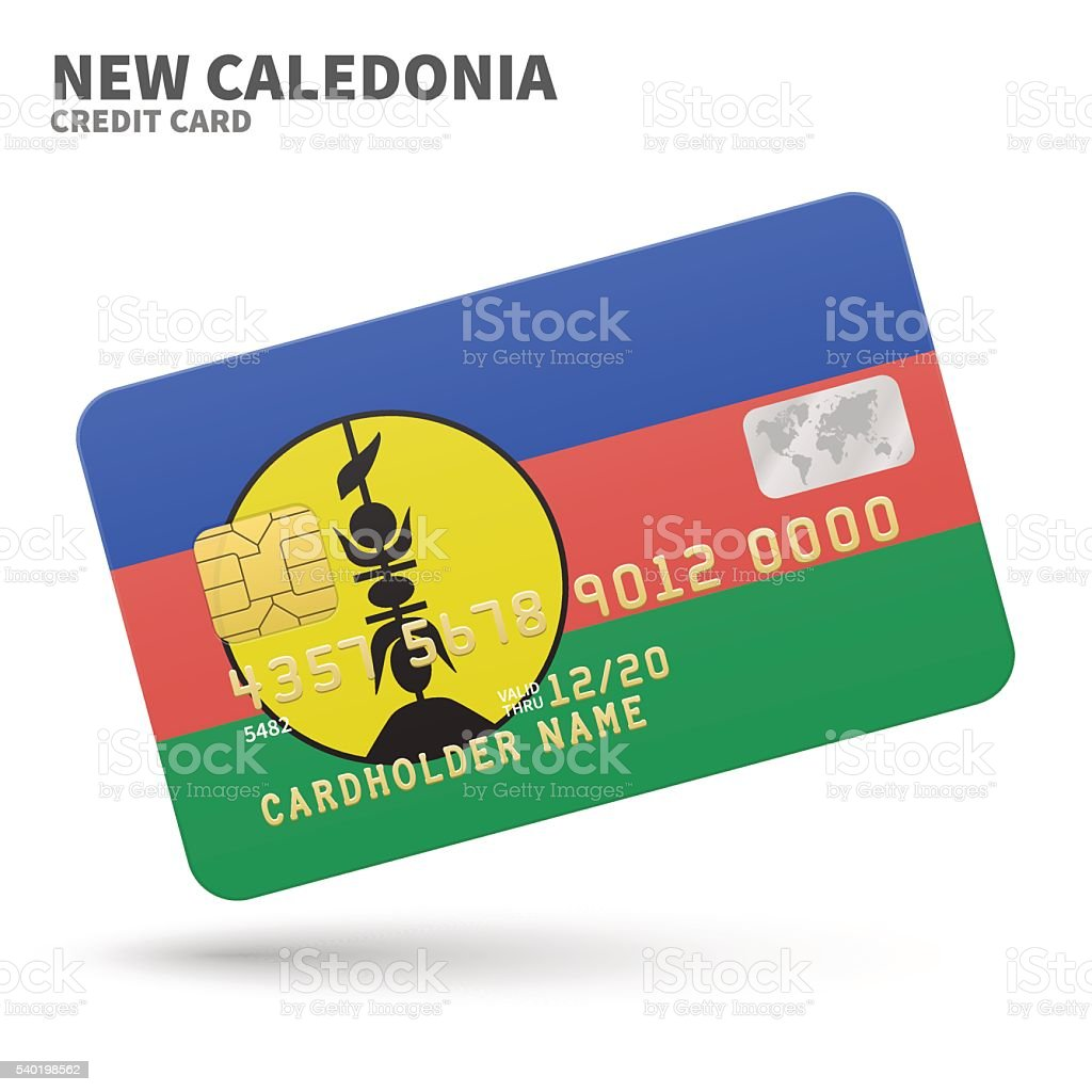 Credit card with New Caledonia flag background for bank, presentations vector art illustration