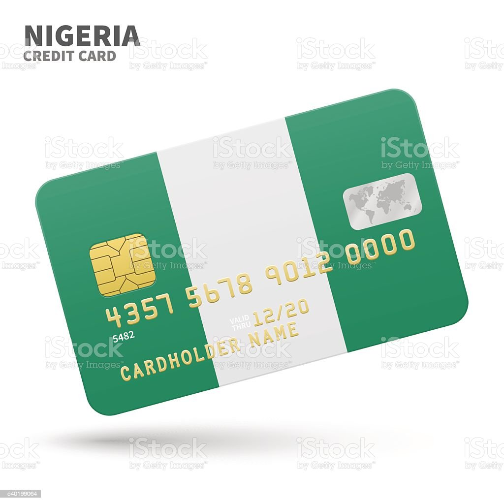Credit card with Nigeria flag background for bank, presentations and vector art illustration