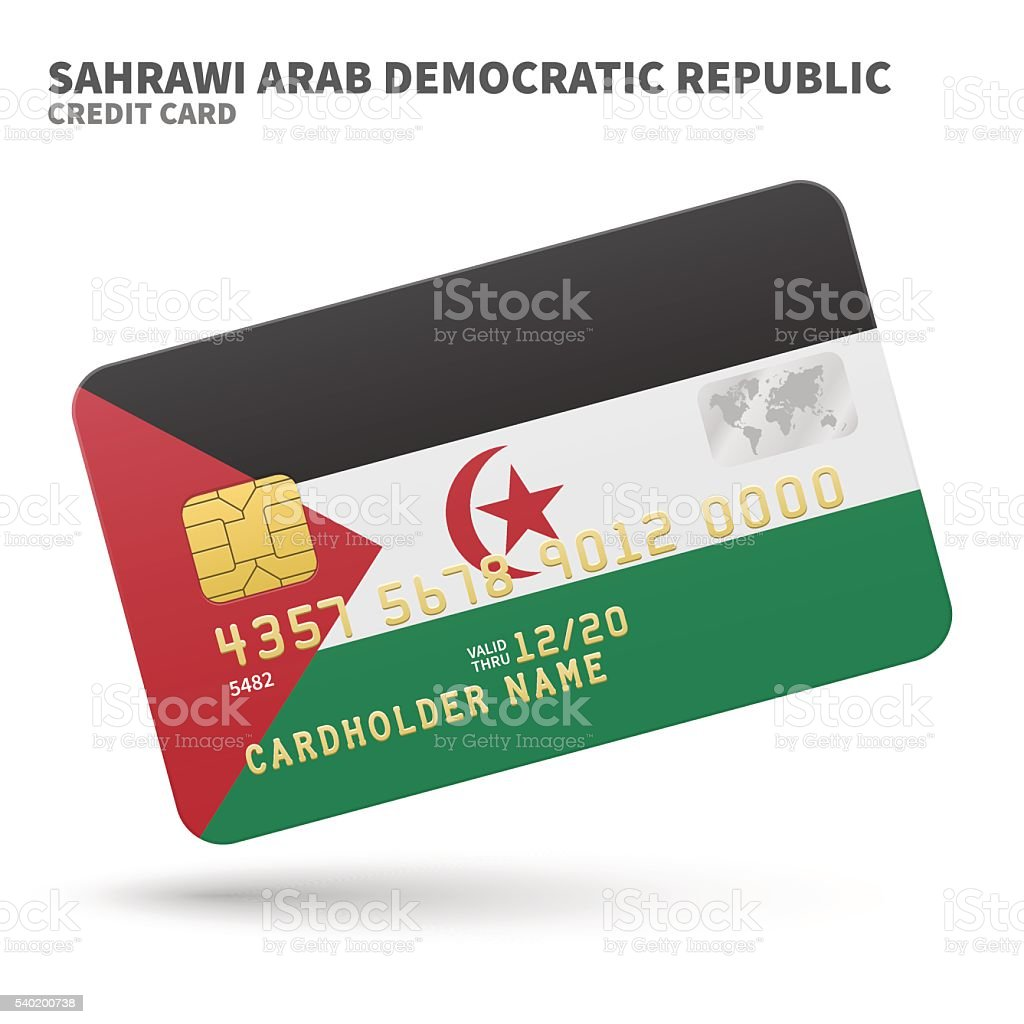 Credit card with Sahrawi Arab Democratic Republic flag background for vector art illustration