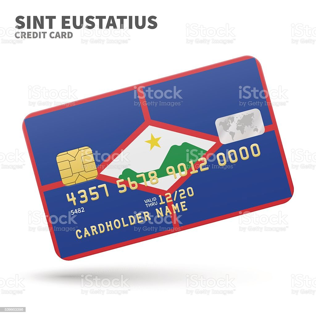 Credit card with Sint Eustatius flag background for bank, presentations vector art illustration