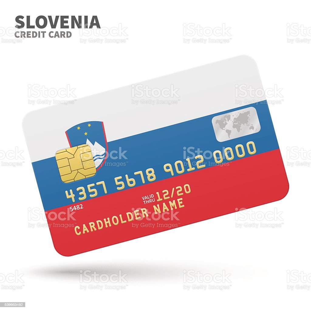 Credit card with Slovenia flag background for bank, presentations and vector art illustration