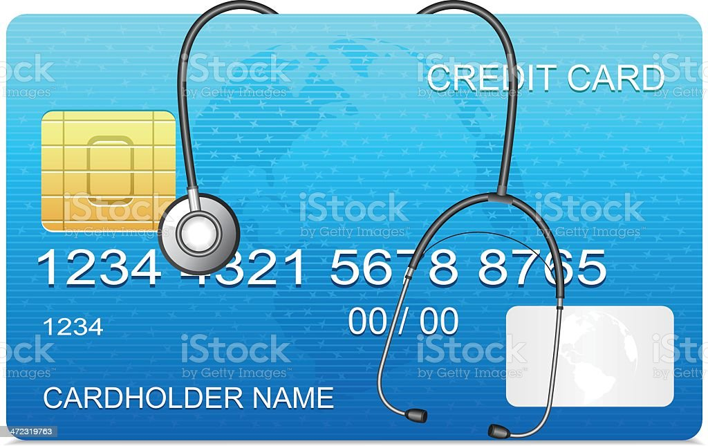 Credit Card with stethoscope vector art illustration