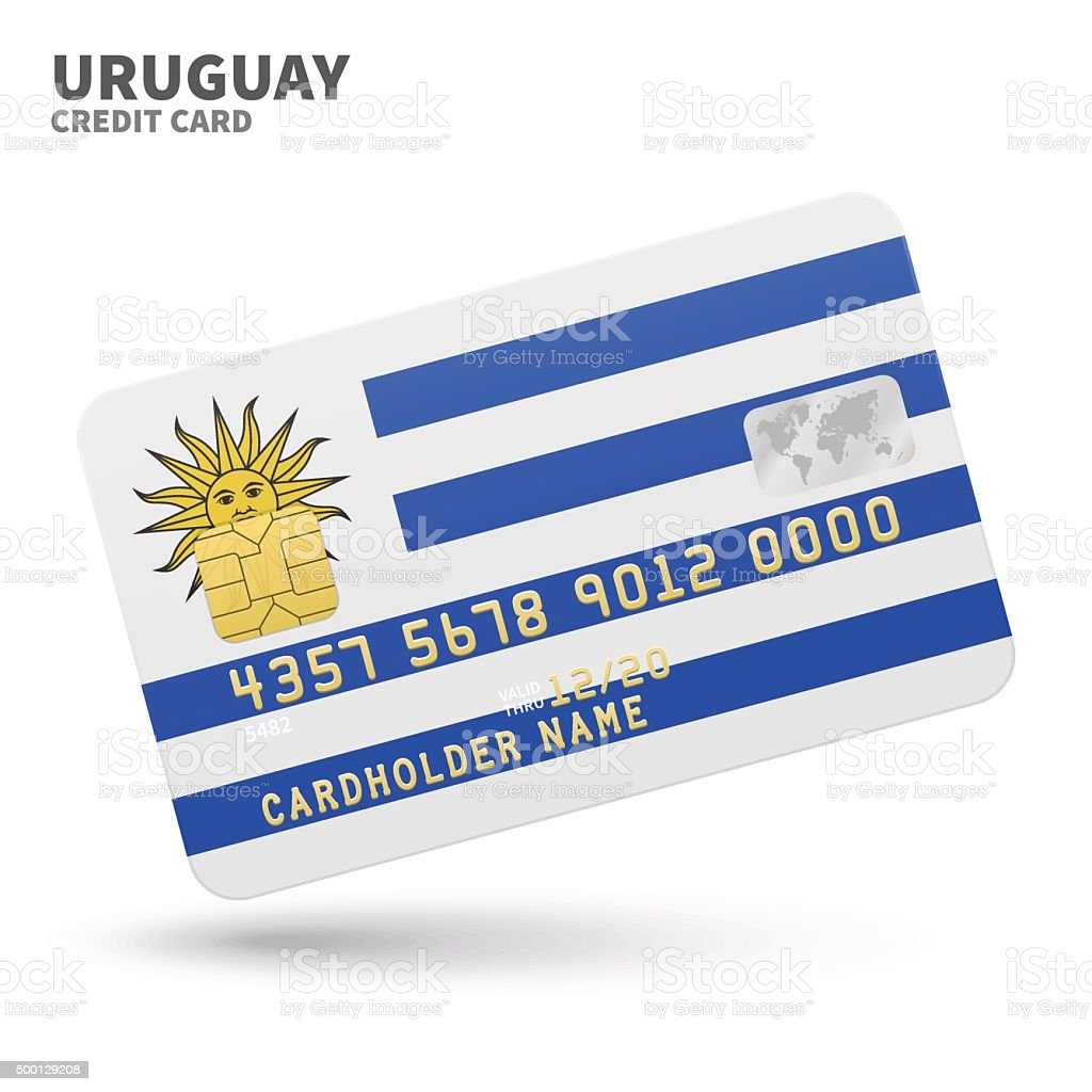 Credit card with Uruguay flag background for bank, presentations and vector art illustration