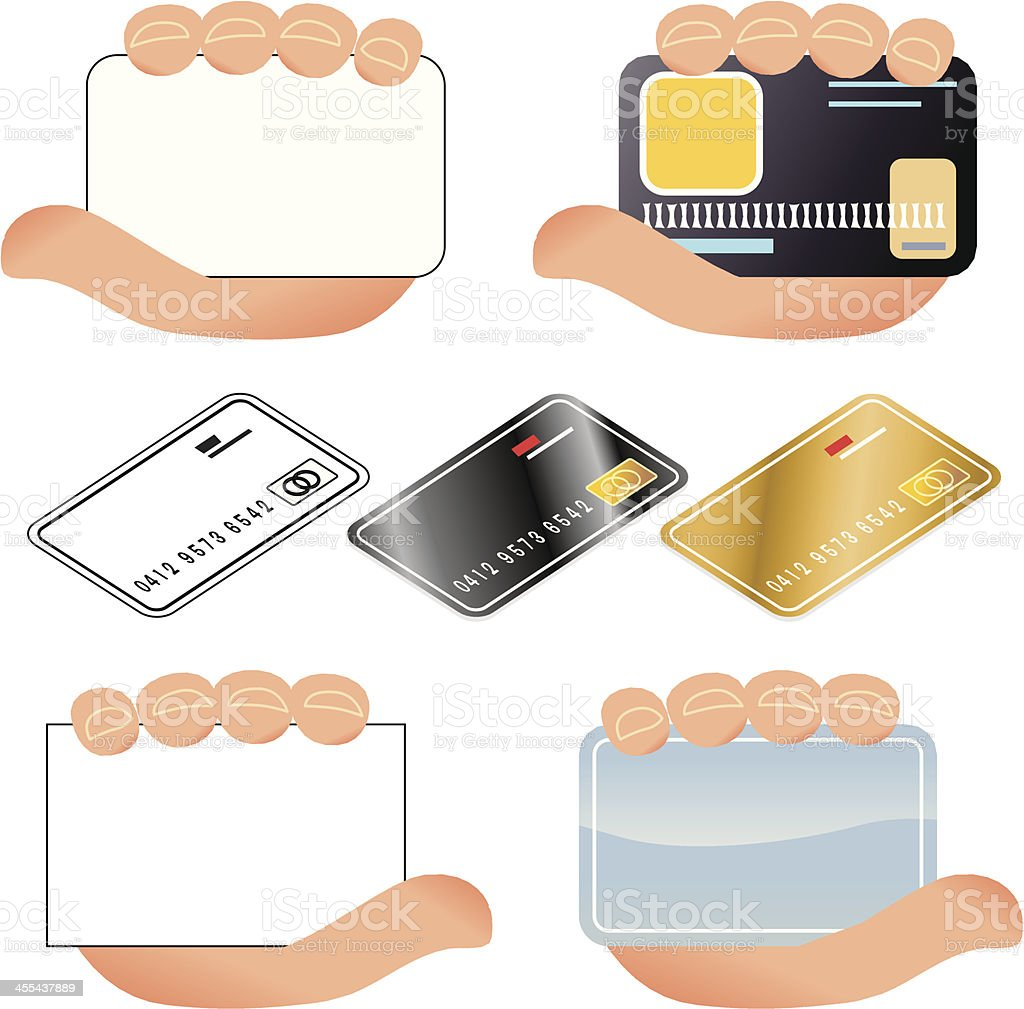 Credit cards and hands royalty-free stock vector art