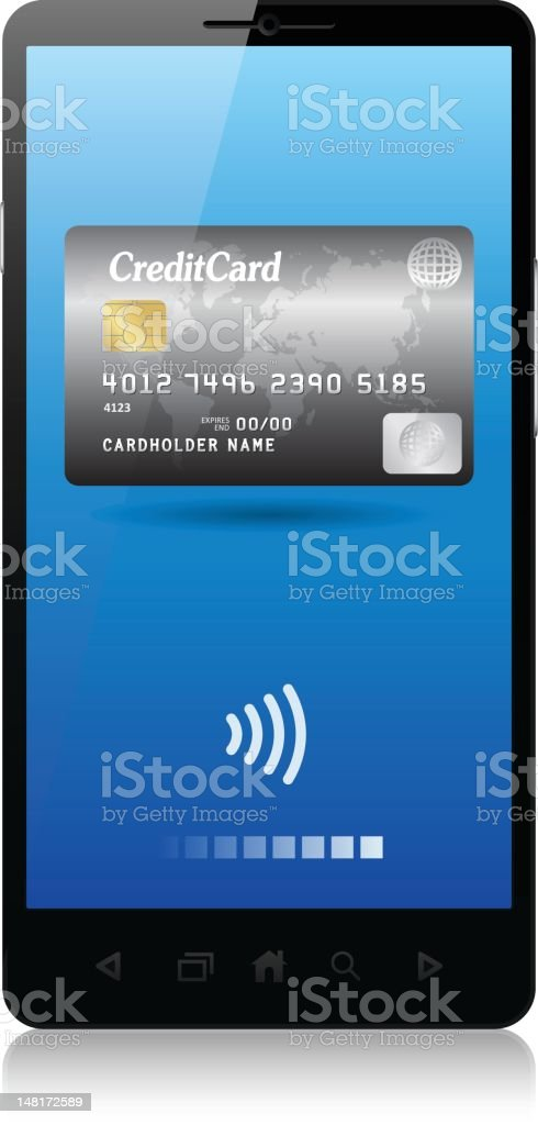 credit cards, mobile phone for e-commerce royalty-free stock vector art