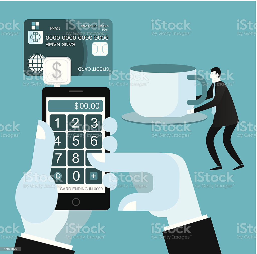 Credit Cards With Smart Phone vector art illustration