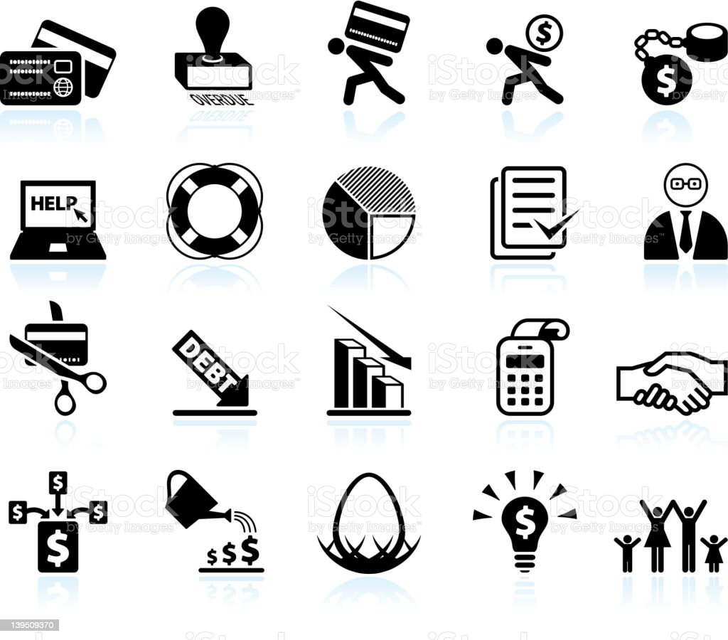 Credit counseling and debt relief black & white icon set vector art illustration