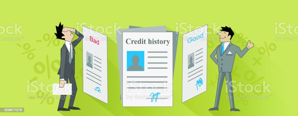 Credit History Bad and Good Design vector art illustration