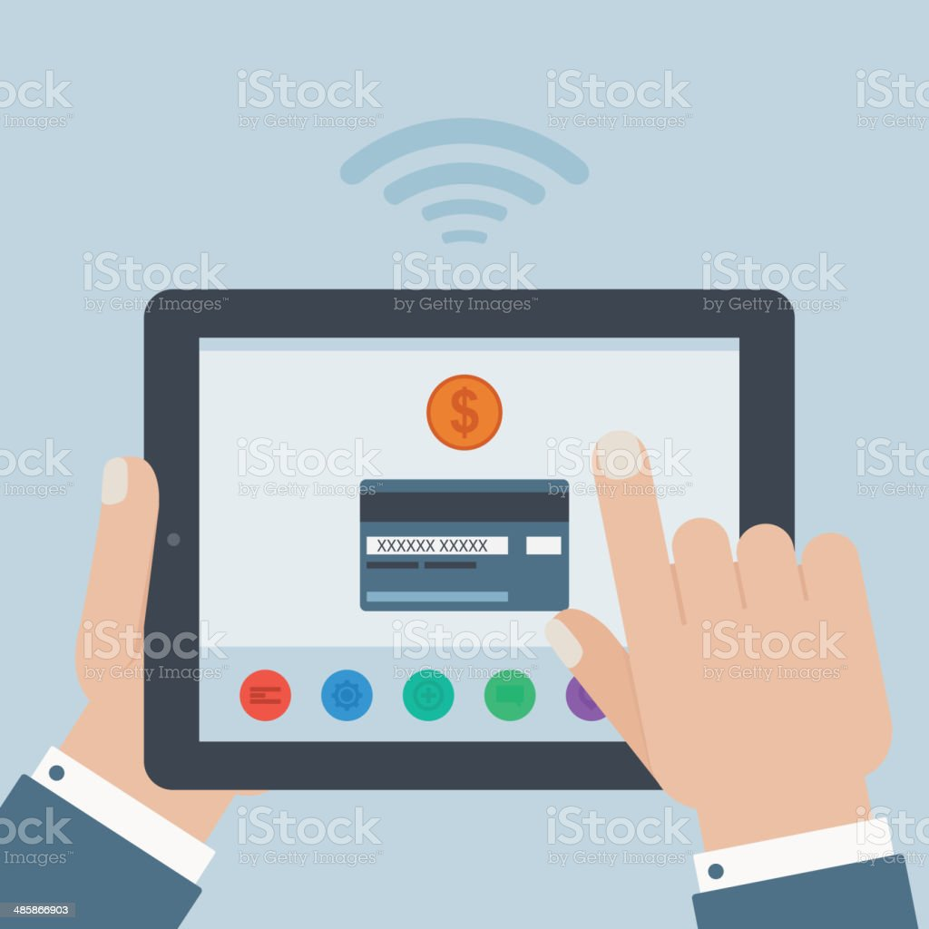 creditcard mobile payment hand holding tablet flat design royalty-free stock vector art