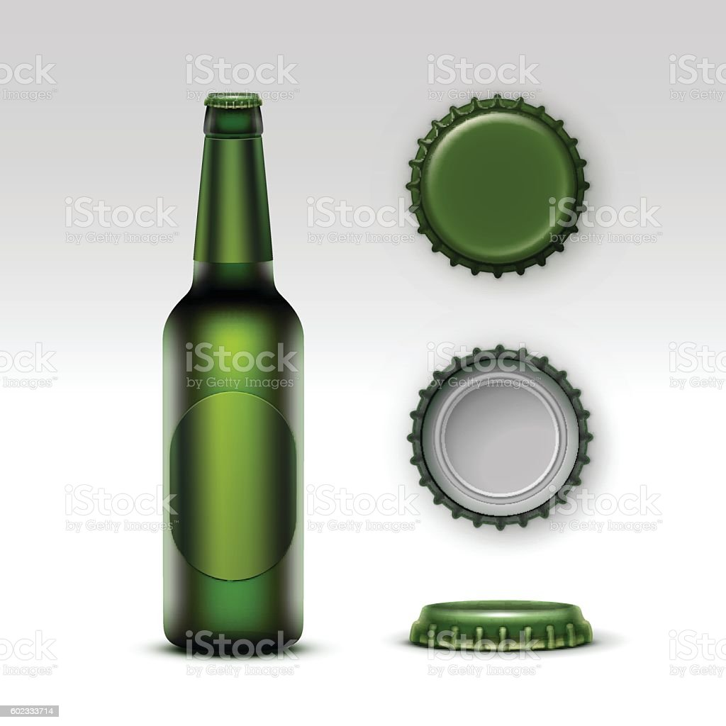 Creen Bottle Beer with Green label and Set of Caps vector art illustration