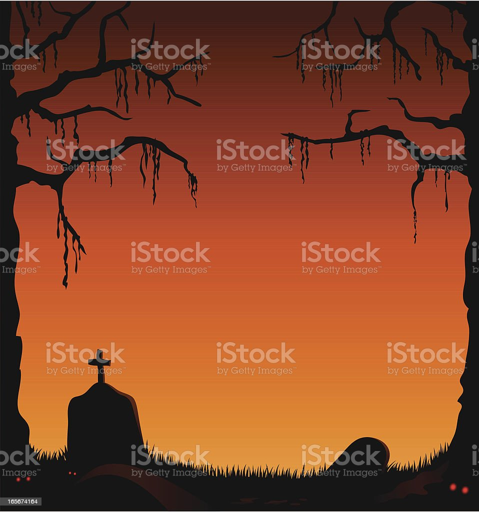 Creepy abandoned graveyard with orange sky royalty-free stock vector art