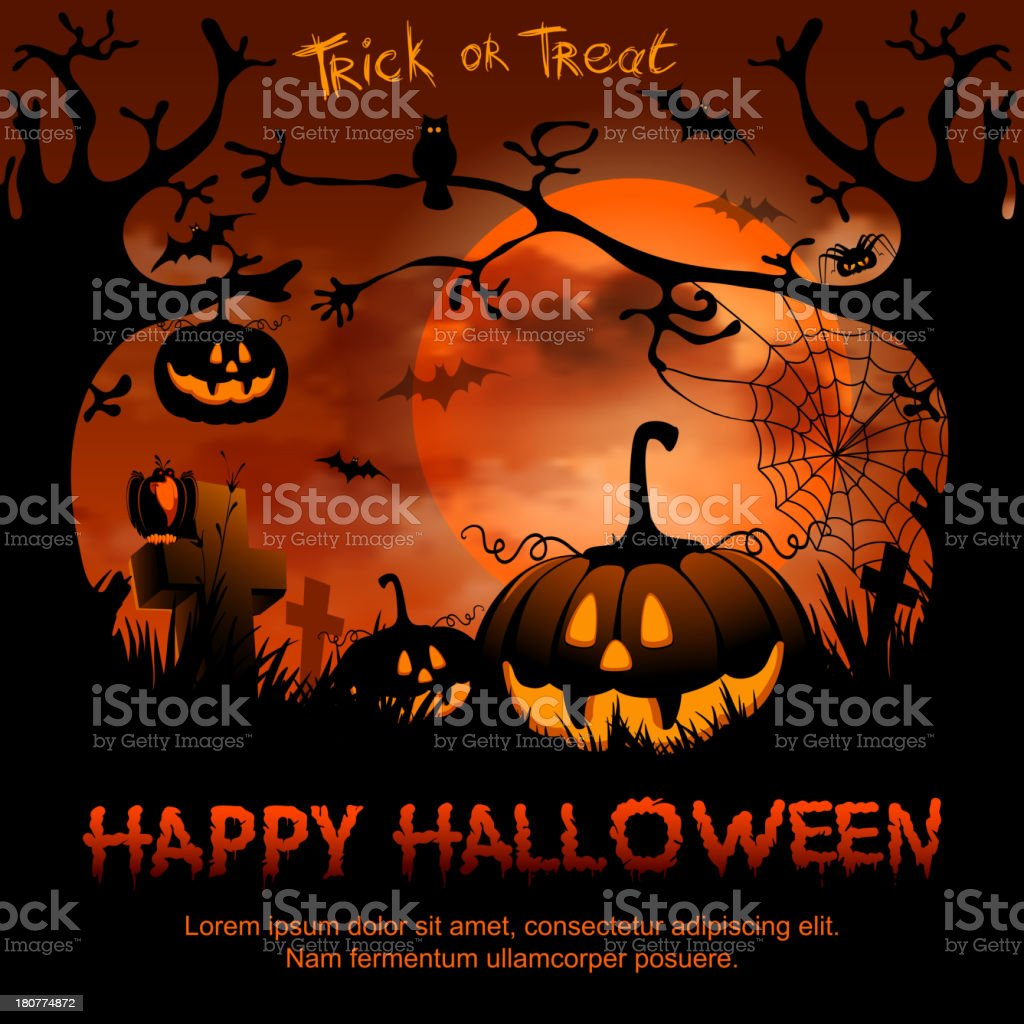 Creepy Halloween poster with pumpkins bats and trees royalty-free stock vector art