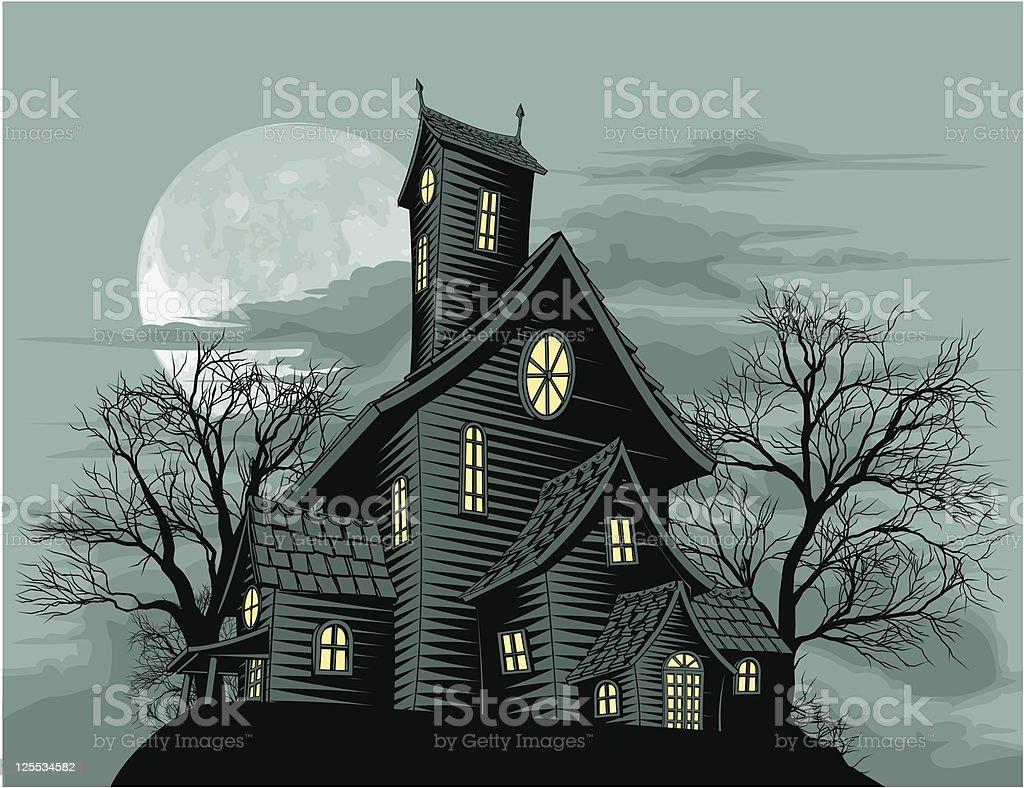 Creepy haunted ghost house scene illustration vector art illustration