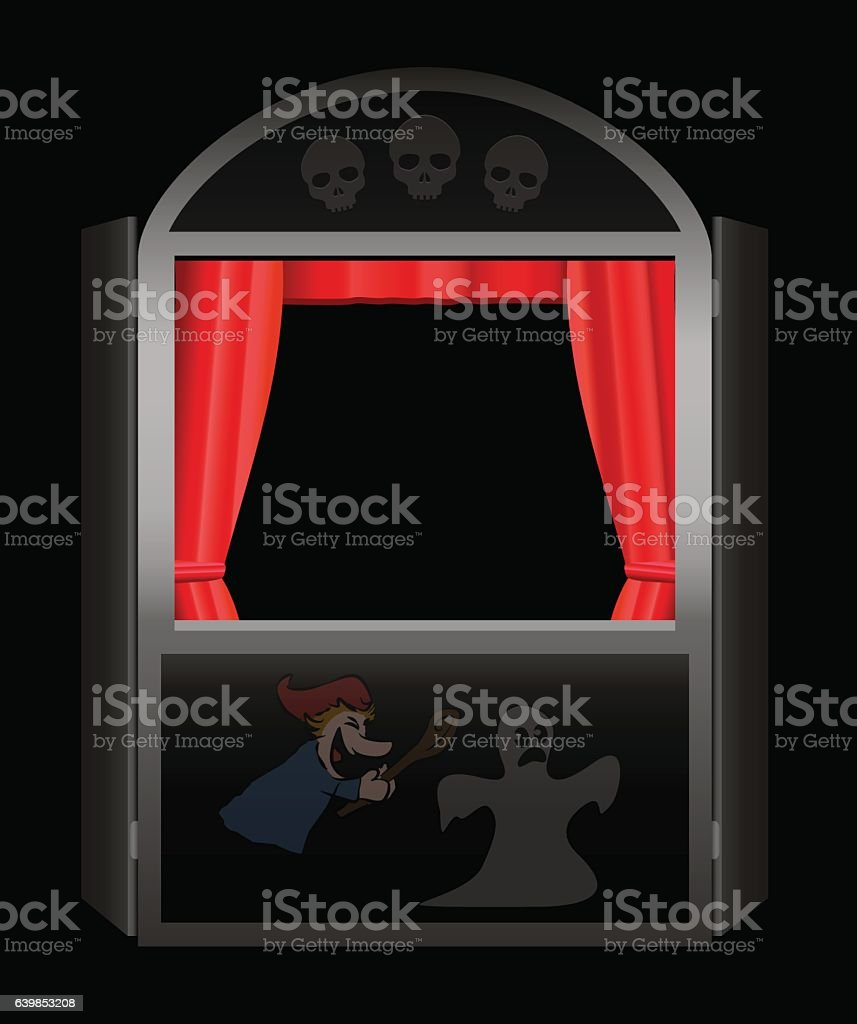Creepy Story Punch And Judy Show vector art illustration