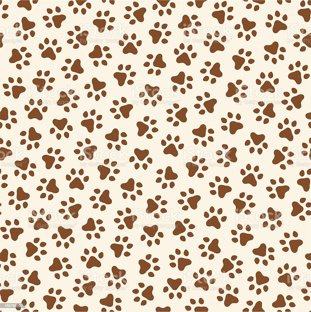 Creme and brown seamless paw print pattern royalty-free stock vector art