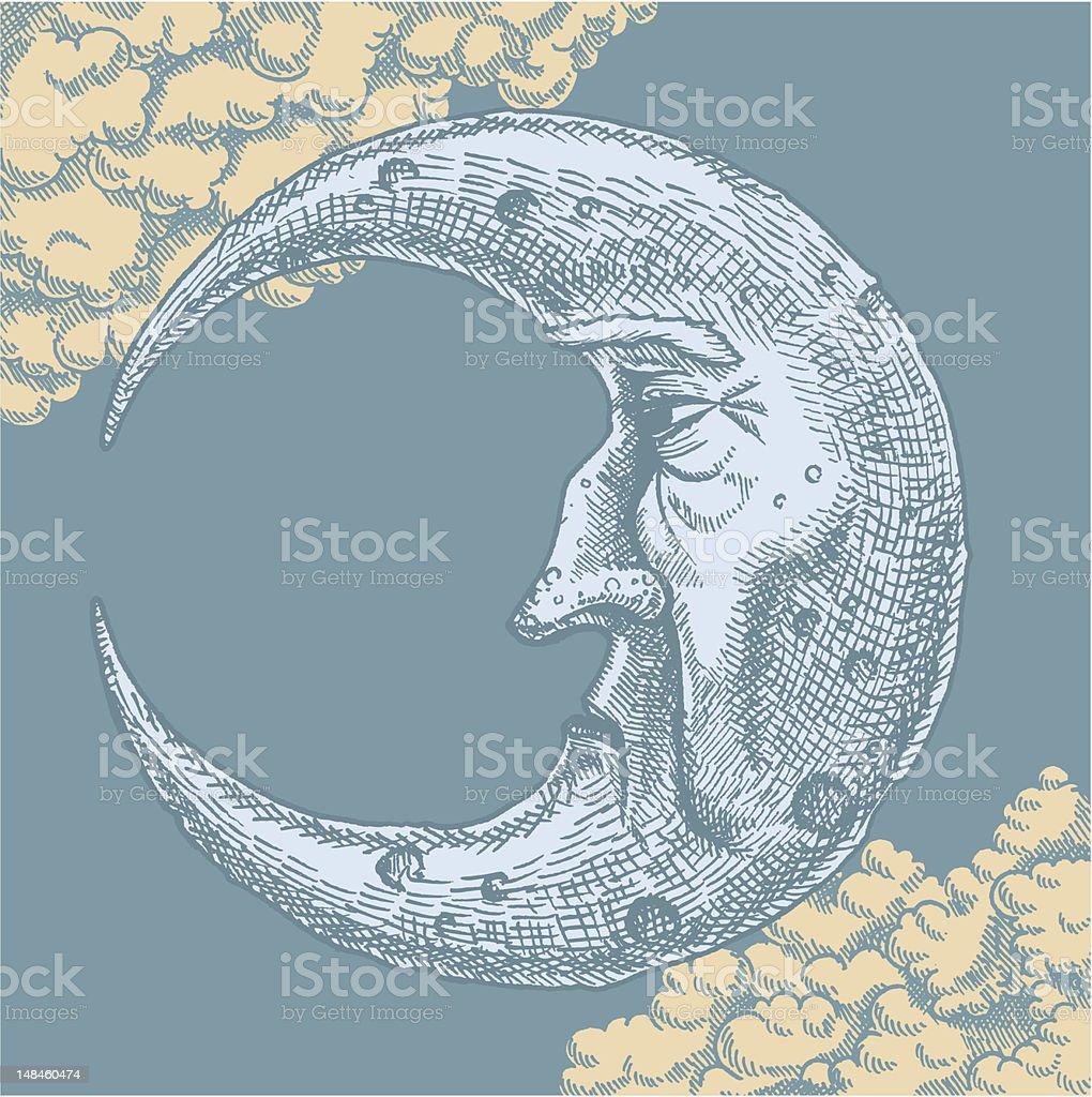 Crescent Moon Face Vintage Drawing vector art illustration