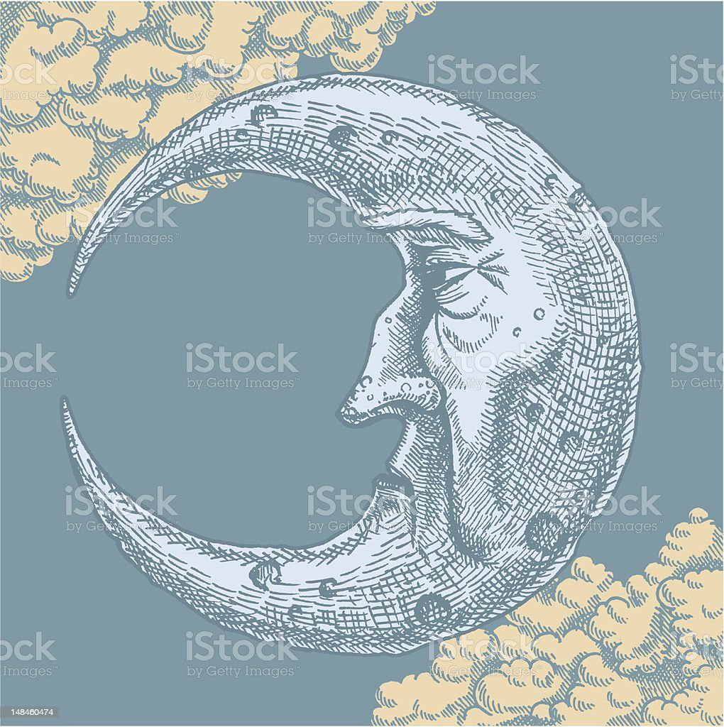 Crescent Moon Face Vintage Drawing vector art illustration