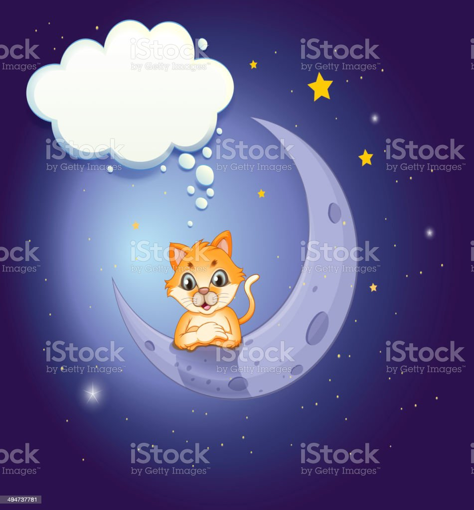 Crescent moon with a cat and an empty callout royalty-free stock vector art